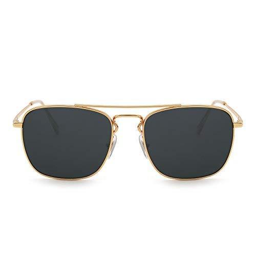 Retro Platz Flieger Sonnenbrille Premium Glas Linse Flach Metall Gläser Damen Herren(Gold/Grau)