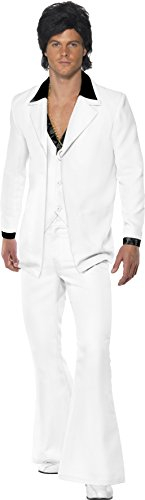 970er Jahre Anzug Kostüm Weiß Jacke mit Mock Hemd Weste mit Hose, X-Large (Weiss Anzug Herren)