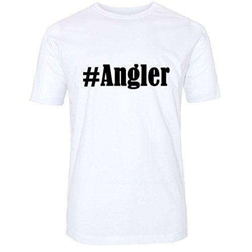 T-Shirt #Angler Hashtag Raute für Damen Herren und Kinder ... in den Farben Schwarz und Weiss Weiß