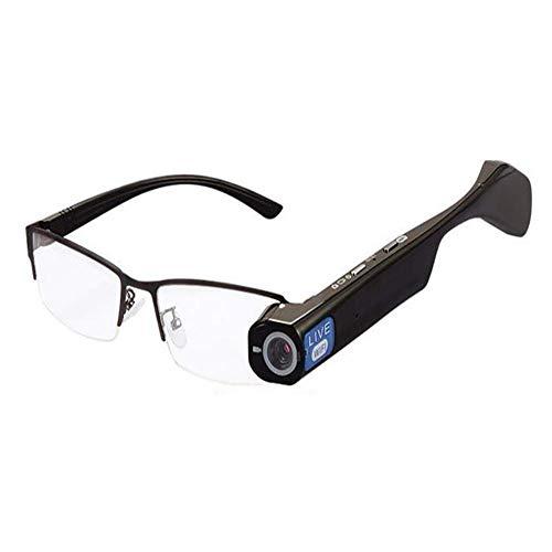 KANBUJIAN Intelligente Brille, HD 1080P-Kamera Intelligente Videobrille, Gegensprechanlage, WiFi-Video-Live-Video, Echtzeit-Sharing-Brille (Farbe : Weiß)