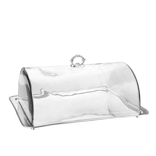 Godinger Silver Art 17.5 Large Silver-plated Rectangular Serving Tray With Vaulted Dome And Hook by Godinger -