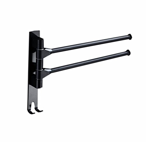 2018 Home Latest -Stainless Steel Wall Mounted Bathroom Towel Rack Wall Mounted Matte Black Towel Rack Space Aluminum Rotatable Swivel Towel Bar 2 Arms 3 Arms and 4 Arms Swing Out Towel Rail Towel Hanging with (FREE DRILLING:Glue Not Included) Bathroom accessories ( Size : Double-rod ) (3-arm-handtuch Stehen)