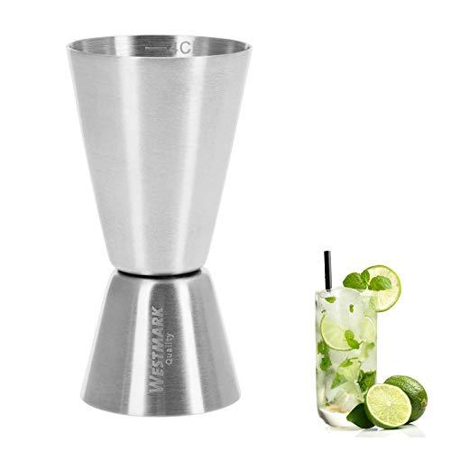 Westmark Kleiner Messbecher/Barmaß, Für Cocktails, 2 Maßeinheiten: 2/4 cl, Rostfreier Edelstahl, Silber, 62772260 (Messbecher 4-cup 1)