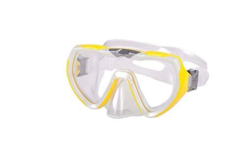 AQUAZON Starfish Junior Medium Schnorchelbrille, Taucherbrille, Schwimmbrille, Tauchmaske für Kinder, Jugendliche von 7-14 Jahren, Tempered Glas, Silokon, tolle Paßform, Colour:gelb