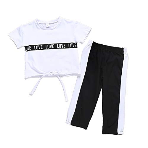 Kinder Mädchen Kurzarm T-Shirt + Solid Hosen Outfits Set Baby Briefdruck Top Freizeit Sporthosen Lose Bequem Elastische Hose Pants Weiß Wild Oberteil Babykleidung Outfits (Kostüm-partei-ideen Für Paare)