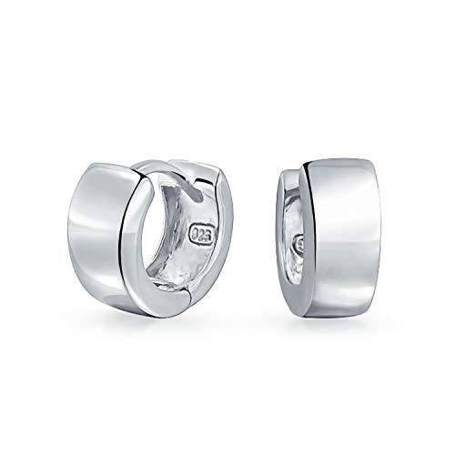 Einfache Flachen Huggie Hoop Creolen Kpop Ohrringe Für Damen Für Herren Scharnier Aus Poliertem Sterling Silber 925