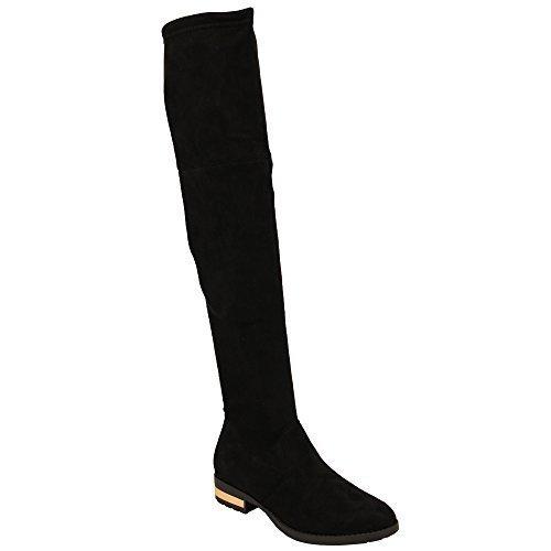 Femmes Bottes Long Au Dessus Du Genou Cuir Suédé Look Chaussures Par Kelsi Noir - FB01