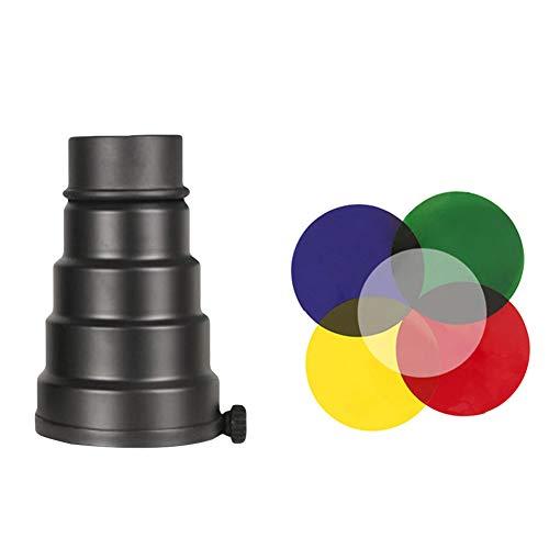 Yxczhis Metall-Kegelschuss mit Wabengitter und Farbgel-Filter-Set für Bowens Mount Studio, Stroboskoplicht, Monolight Fotografie Blitzlicht, Schwarz Monolight Studio Kit