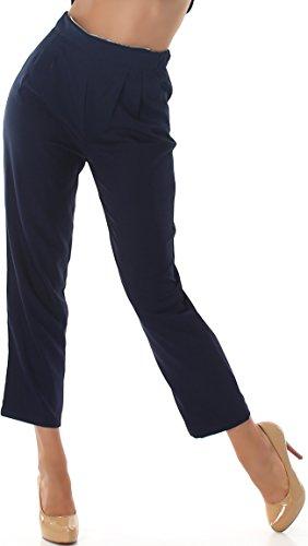 Voyelles Damen Wellness Overall Blusen-Pullover + High-Waist Hose Zweiteiler Jumpsuit Blau