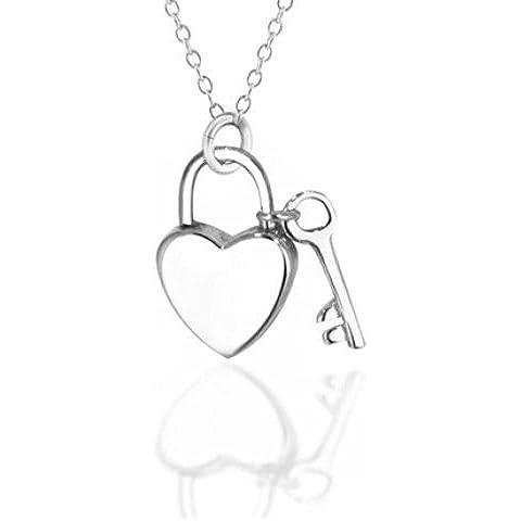 Bling Jewelry Llave de mi corazón Colgante Plata Esterlina Collar Candado 16 en
