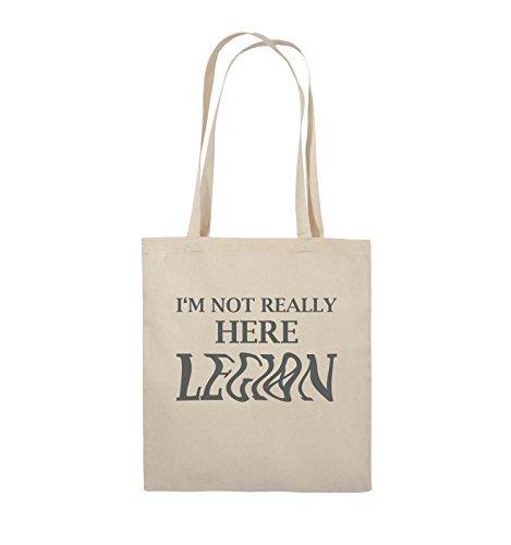 Comedy Bags - I'M NOT REALLY HERE LEGION - LOGO - Jutebeutel - lange Henkel - 38x42cm - Farbe: Schwarz / Pink Natural / Grau