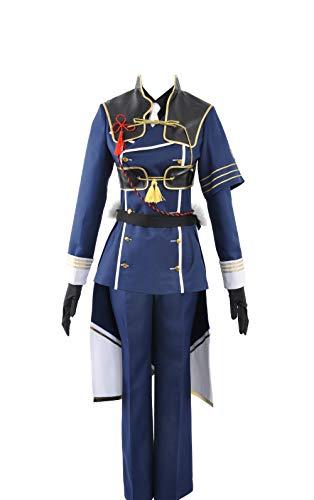 Touken Ranbu nakigitsune Wild Dance of Schwerter copslay Kostüm für Erwachsene Herren Outfit Reinigungstuch, Collegejacke, Blau (Nakigitsune Kostüm)