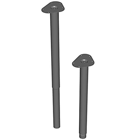 Element System 18133-00335 600 - 900 mm Length 50 mm Diameter Round Telescopic Adjustable Table Legs includes Screw-Mounting Plate - Black (4-Piece)