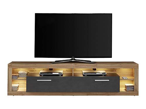 Newfurn TV Lowboard Modern TV-Schrank Fernsehtisch Rack Board II 200x48x 44 cm (BxHxT) II [Nikki.twentythree] in Wotan Eiche + Matera/Matera Wohnzimmer Schlafzimmer