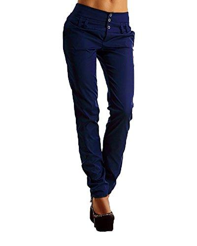 StyleDome Mujer Pantalones Largos Moda Elegantes Botones Oficina (EU 42, Negro)
