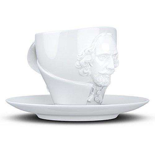 FIFTYEIGHT PRODUCTS William Shakespeare Weiß Tazza, Porcellana, Bianco, 12 x 10 x 10 cm, 2 unità