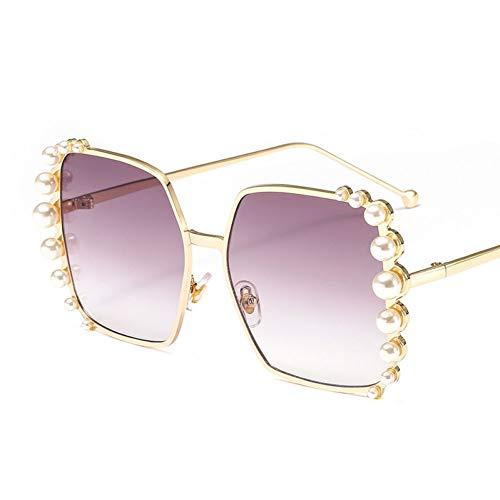 Taiyangcheng Polarisierte Sonnenbrille Sonnenbrille Übergroße Sonnenbrille Frauen Perle Dekoration Markendesigner Vintage Big Frame Sonnenbrille Quadrat Shades Weiblich,grau
