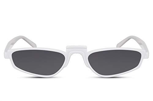 Cheapass Damen-Sonnenbrille Weiß Schmal Breit Cat-Eye Katzenauge-n UV-400 Retro Designer-Brille Plastik Damen Frauen