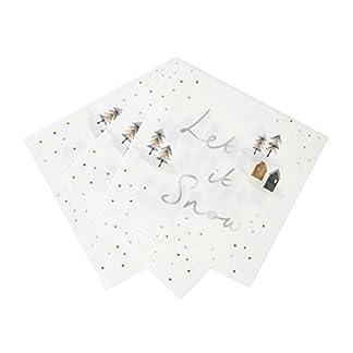 Talking Tables Nórdico Let It Snow Servilletas 33cm para Fietas y Navidad, (20 Pack)