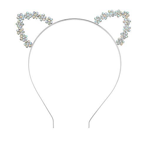 Frcolor Katzenohren Stirnband Strass Party Haarband Kristall Haarreif Kopfbedeckung für Frauen Mädchen