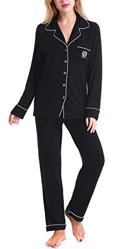 Damen Schlafanzüge Nachtwäsche langen Ärmeln Pyjama by Nora Twips, Farbe Schwarz Gr. M - Brusttasche Mit Gestreifter Anzug