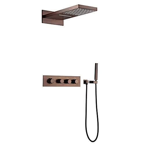 jiayoujia Luxus Thermostatische Wandhalterung Wasserfall Regen Dusche Dusche-System mit Body Spray Düsen in Öl eingerieben Bronze (Dusche Kopf 560mmL x 230MMW) (Dusche Kopf Eingerieben Bronze)