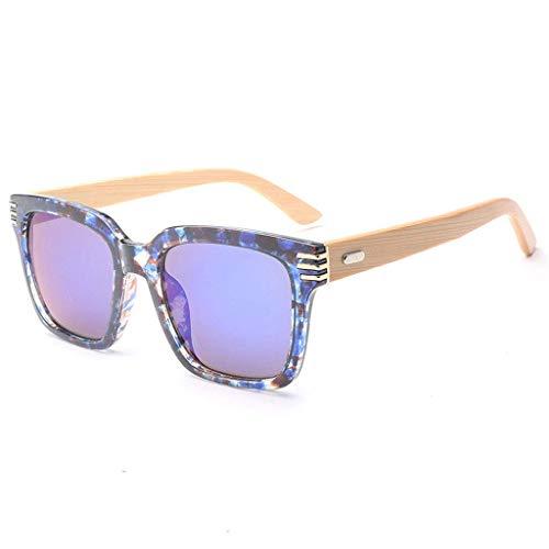 MWPO Vintage handgemachte Bambus und Holz Unisex Kunststoffrahmen große quadratische Gläser polarisierte Gläser (Farbe: blau)