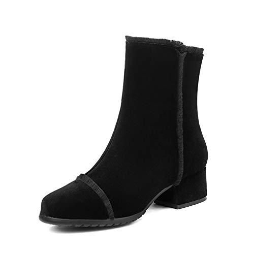 Schwarz Schnee Stiefel (YAN Damen Stiefeletten Frühling Herbst Party Hochzeit & Abendkleid Schuhe Leder Schnee Stiefel Wanderschuhe Schwarz (Farbe : Schwarz, Größe : 37))