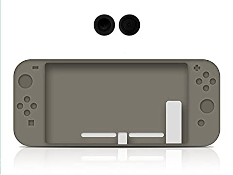 Chickwin Coque De Protection Housse Étui en silicone skin cover pour Nintendo Switch + 2 Thumb Grips (Gris)