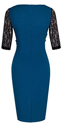 HOMEYEE Women's Elegant Lace Sleeve V-Neck Slim Bodycon Formal Vintage Dress B336 (UK 14 = Size XL, Teal)