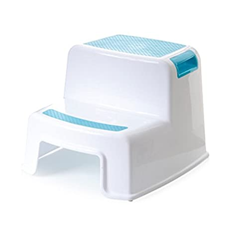 Kiccoly Transitions de 2 Step Marchepied, 2 étapes Plastique moulé Tabouret avec antidérapant Marchettes, capacité de 90,7 kilogram, ABS, bleu, 10 inches tall x 14 inches wide.