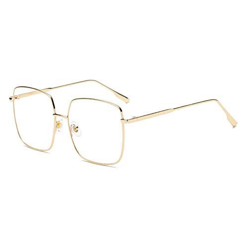 DIYOO Sonnenbrille Frauen Männer Unisex Retro Vintage Sonnenbrille Square Sonnenbrille Classic Mirror Lens Brille Transparent Gold