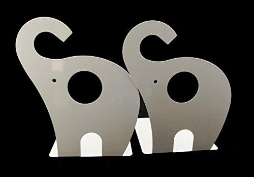 Niedlicher Elefant Buchstütze für Kinder, Metall Buchstütze, Buchstützen fürs Baby-Kinderzimmer, Kinderzimmer Dekor (Weiß)