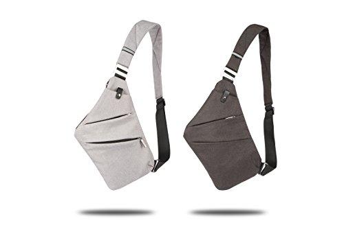 Sling petto borsa Crossbody one-shoulder Outdoor sport preferito antifurto per il tempo libero pacchetto leggero zaino multifunzione, a due colori disponibili (Nero) Grigio