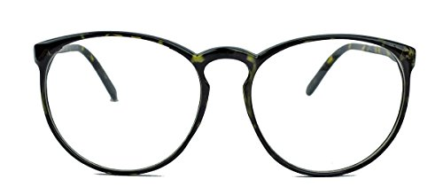 Classic Nerdbrille: große, fast runde Pantobrille filigrane Streberbrille Hornbrille clear lens (Hornbrille / Mod.16)