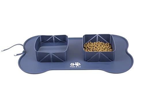 Pixie & Lu Alfombrilla para Alimentos para Mascotas, Tapete Comer de Alimentacion Silicona Impermeable Antideslizante, Comedero y Bebedero Portátil para Perros y Gatos con Bolsa de Viaje