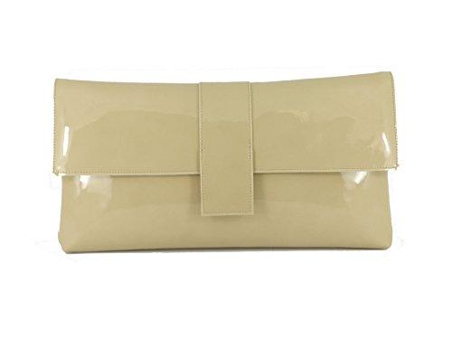 Sensationelle Faux Patent große Clutch Bag/Schultertasche Hochzeit Party Prom-Tasche In schwarz Nude Beige