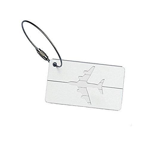 Leisial 2 Stück Kofferanhänger Gepäckanhänger Namensschilder aus Aluminiumlegierung-Weiß