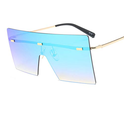 Shihuam Übergroße Damen Sonnenbrille Square Mirror Randlose Herrenbrille Vintage Flat Top Big Gradient Shades,C1