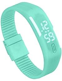 Silicone Montre - TOOGOO(R)Sports Caoutchouc Silicone Blanc LED Montre Digitale Bracelet Homme Femmes Vert Menthe