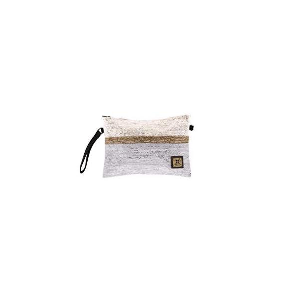 31FkmA9pJdL. SS600  - For Time Bolso de Mano con Destellos metálicos, Rafia Mujer, Gris, 30x20x1 cm