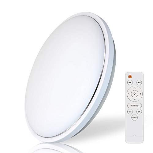 Tonffi® dimmbar Deckenleuchte LED Badlampe für Badezimmer Balkon, 62W IP54 5500LM 2800~6500K natureweiss warmweiß Beleuchtung [Energieklasse A+] (Rund 31w+31w, 480 * 70MM)