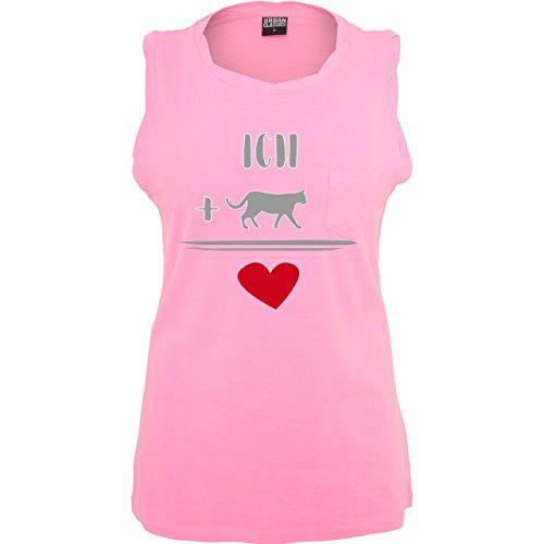 Statement Shirts - Katzen-Liebe - ärmelloses Damen T-Shirt mit Brusttasche Neon Pink