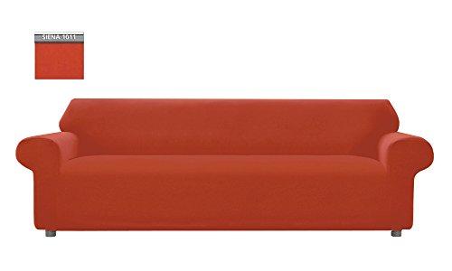 Copridivano genius tinta unita, per divano xl 4 posti, colore siena 1011
