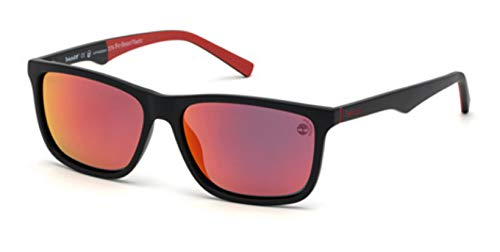 Sunglasses Timberland TB 9174 02D Matte Black, Red Perforated Rubber Temples/red
