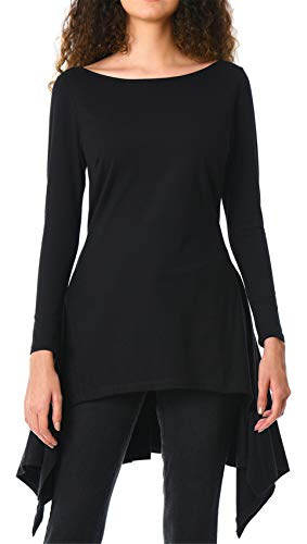 Langarm Ausgestellte A-Linie A-Linien Plissee Plissiertes Asymmetrisch Hoch Niedrig Saum Unregelmäßige Saum Fishtail Bluse Hemd T-Shirt Oberteil Top Schwarz XL -