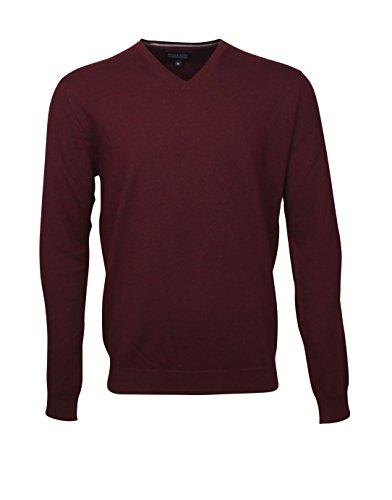 774616 - Bots & Bots - Herren V-Neck Pullover - Merino Wool - Normal Fit Bordeaux