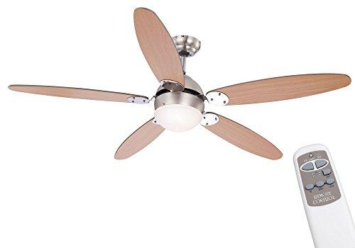 Moderner Ventilator Deckenventilator Nickel (etc-shop Decken Ventilator Lampe Lüfter Kühler im Set inklusive Fernbedienung und 6,5W SMD LED Leuchtmittel)