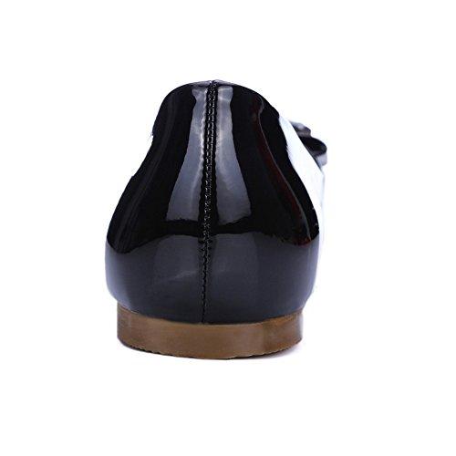 TAOFFEN Damen Casual Flache Schuhe Runde Spitze Pumps Mit Bogen Schwarz