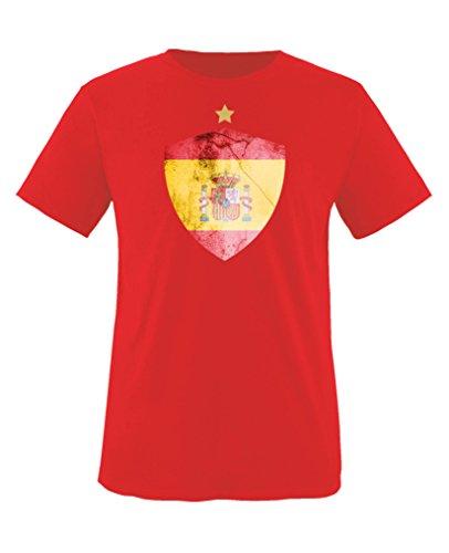 Comedy Shirts - Spanien Trikot - Wappen: Groß - Wunsch - Kinder T-Shirt - Rot/Gelb Gr. 122-128